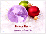 PowerPoint Template - globe and Christmas ornaments - Christmas around the world concept