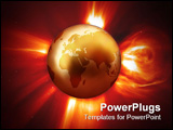 PowerPoint Template - Global Warming - View of Western Earth & Solar Flare.