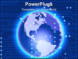 PowerPoint Template - 2d illustration of a glowing blue earth over a dark blue electronic circuit pattern