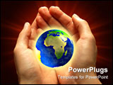 PowerPoint Template - The Earth in woman hands: background care.