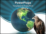 PowerPoint Template - 3D globe with eagle on the dotted background