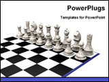 PowerPoint Template - white pieces on the chess