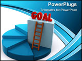 PowerPoint Template - 3d pie chart with different elevations and the goal on a highest level