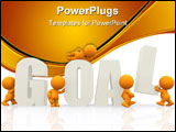 PowerPoint Template - 3D people around the word goal isolated over a white background