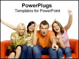 PowerPoint Template - A group sits on an orange couch yelling in excitement.