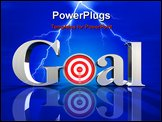 PowerPoint Template - d illustration of chrome letters spelling the word Goal on a blue reflective surface with a metalli