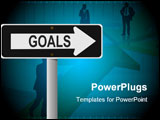 PowerPoint Template - An illustration of a One-Way style sign that says goals