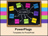 PowerPoint Template - mind map created on blackboard with colorful crumpled sticky notes and white chalk