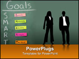 PowerPoint Template - Smart Goals specific measurable attainable relevant time bound all on sticky notes on a chalkboard.