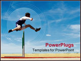 PowerPoint Template - Track athlete jumping a hurdle during the daytime against a dramatic blue sky.