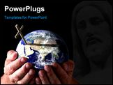 PowerPoint Template - ands holding world with cross on isolated black background. Religious Concept. Earth image courtesy