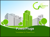 PowerPoint Template - Single green building shines among many grey buildings