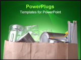 PowerPoint Template - Grocery bag filled with cans magazines and plastic bottles with a glowing green background.
