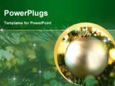 PowerPoint Template - Decorative gold bauble in a Christmas tree in front of a glitter background
