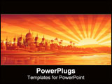 PowerPoint Template - A golden city under a golden sunset.