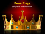 PowerPoint Template - Golden crown with diamonds isolated on white background