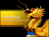PowerPoint Template - golden dragon isolated on white background in front of temple