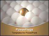 PowerPoint Template - Close-up of a golden egg between chicken eggs