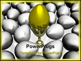 PowerPoint Template - gold egg in a bowl on a background of other eggs