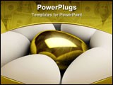 PowerPoint Template - Unique golden egg side single standing success treasure wealth white