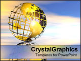 PowerPoint Template - Shiny gold wire globe.