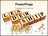PowerPoint Template - 3d golden boxes with text - leadership word