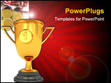 PowerPoint Template - 3d illustration of golden cup over white background