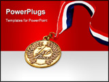 PowerPoint Template - Gold award medal with ribbon on a white background