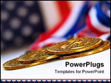 PowerPoint Template - four gold medals or awards with USA flag in background