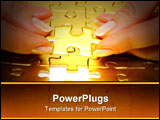PowerPoint Template - woman fingers holdings gold puzzle in combination