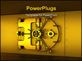 PowerPoint Template - 3D render of a golden bank vault .