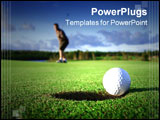 PowerPoint Template - A golf ball just about to go in the hole from a long putt