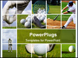 PowerPoint Template - A collage of Golf images showing detail shots on the golf field
