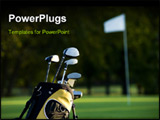 PowerPoint Template - A set up new golf clubs on a beautiful golf course