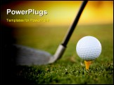 PowerPoint Template - club and white golf ball over grass outdoors