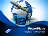 PowerPoint Template - he Earth a plane taking off a pile of luggage including suitcases briefcases golf bag connected to