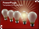 PowerPoint Template -  nice close-up of a row of lightbulbs in front of a red background. This version shows them in the
