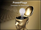 PowerPoint Template - oncept of good idea. Brainstorm Brain Head Mind Bright idea Sudden inspiration all these words are