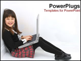 PowerPoint Template - Little girl sitting with laptop.