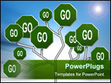 PowerPoint Template - an illustration of green go road signs forming a tree