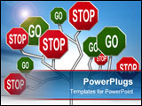 PowerPoint Template - an illustration of red stop signs and green go signs forming a tree