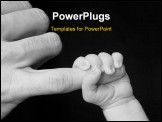 PowerPoint Template - an infants fist closed tight around the tip of father pinky finger