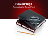 PowerPoint Template - government regulations, magnifier, pencil