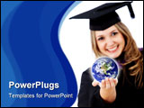 PowerPoint Template - Female graduate with the world in her hands isolated over white