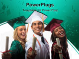 PowerPoint Template - three graduates in cap and gown with diplomas ** Note: Slight blurriness, best at smaller sizes