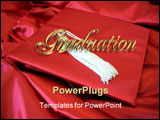 PowerPoint Template - Image and illustration composition with 3D golden text for Graduation card invitation
