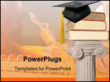 PowerPoint Template - educational books on a column with cap and tassle