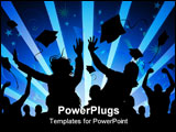PowerPoint Template - A large group of students celebrate graduation!