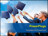 PowerPoint Template - Students throwing graduation hats in the air celebrating