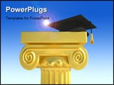 PowerPoint Template - Graduation cap on roman columns - 3d render